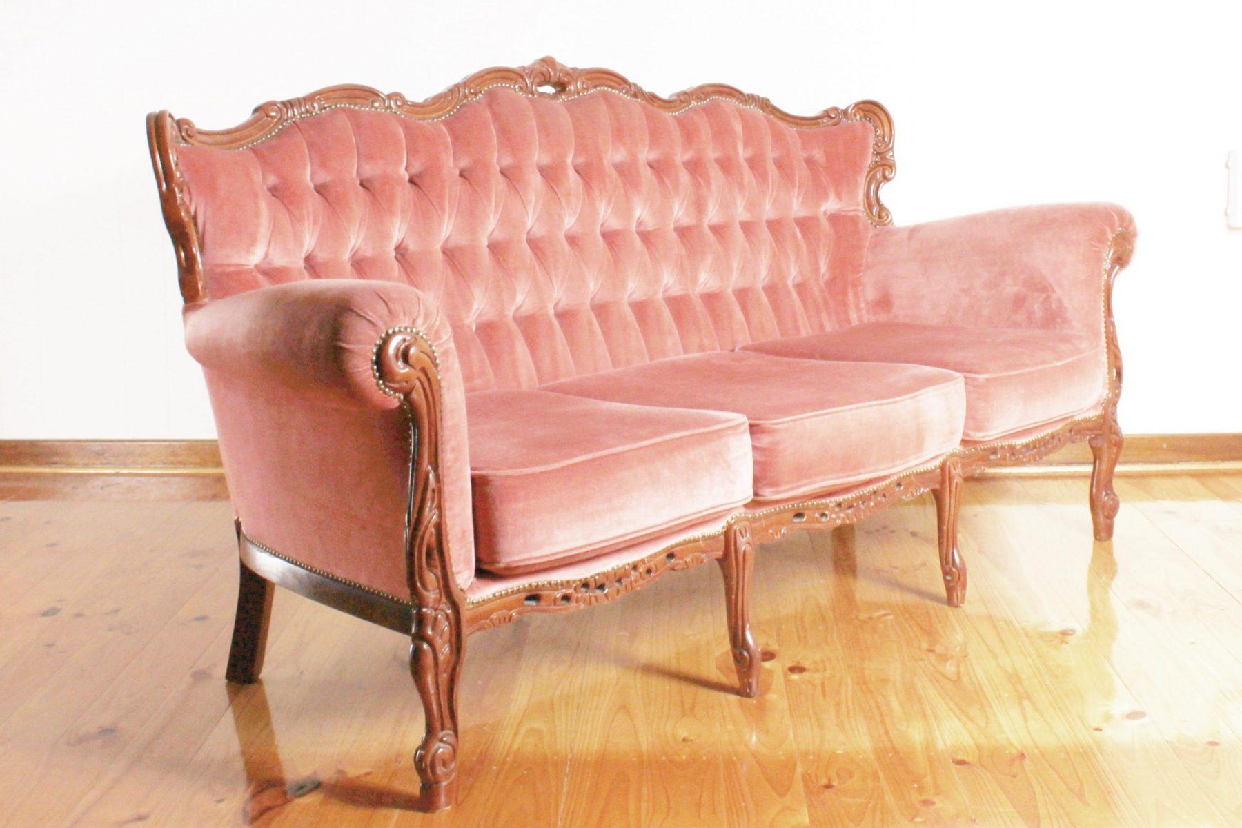 blush pink sofa side