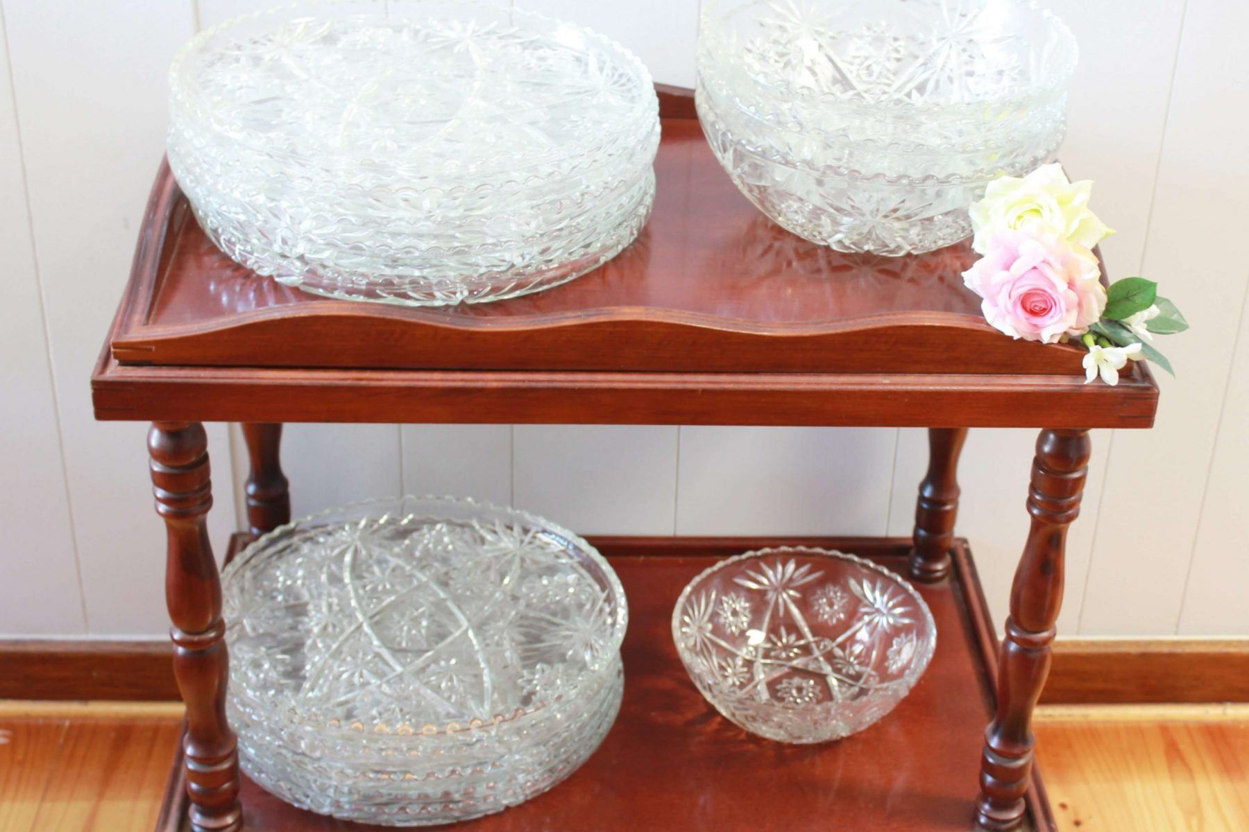 crystal platters on trolley