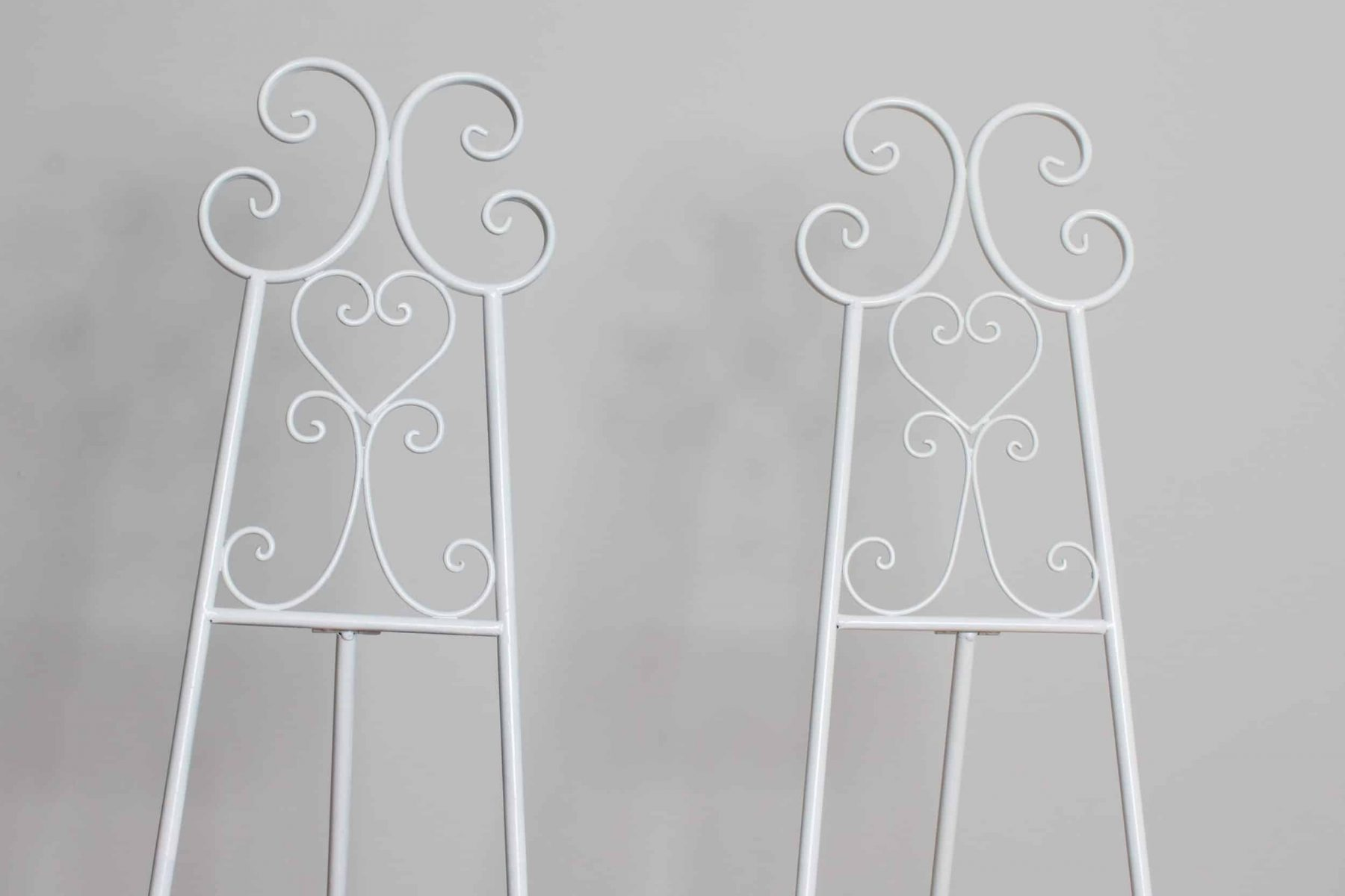 easels two white closeup