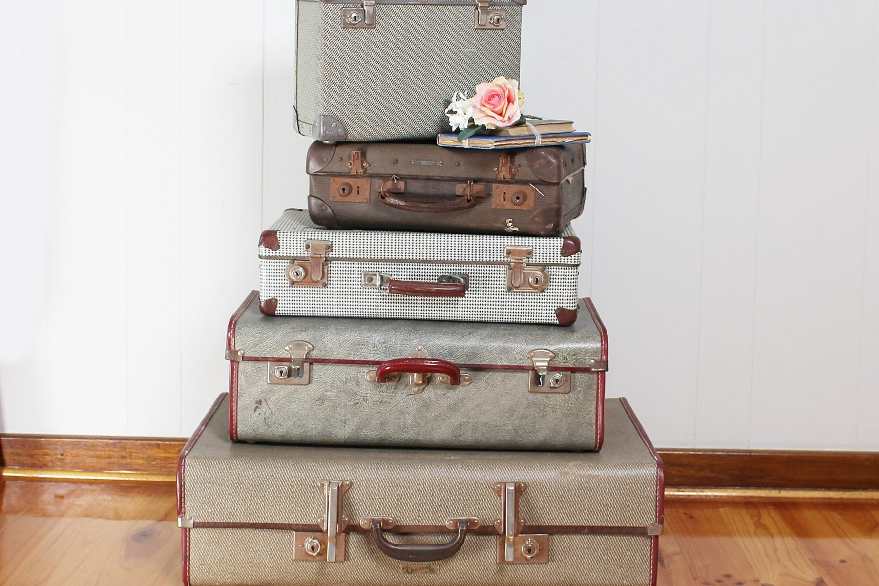 stack suitcases